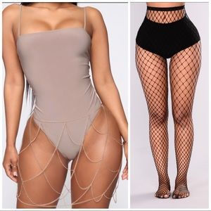 Fashion Nova Rhinestone Skirt & Fishnet Tights
